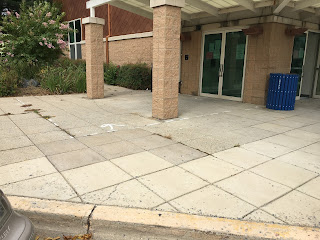 Sidewalk at front entrance of Quince Orchard Library