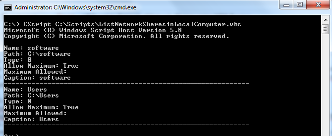 VBScript to Get List of Network Shares/Share Folders using WMI Service