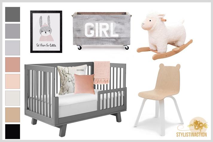 Deco Styling para bebes - cuarto no tradicional en dupla gris + rosa