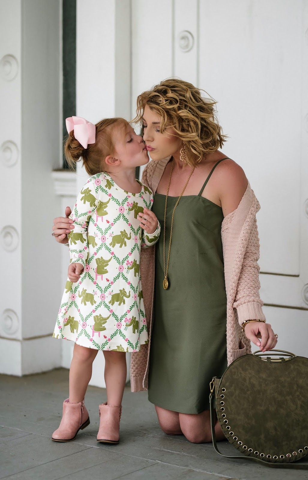 Mommy and Me Look - Light Pink & Olive Green for Fall - Something Delightful Blog