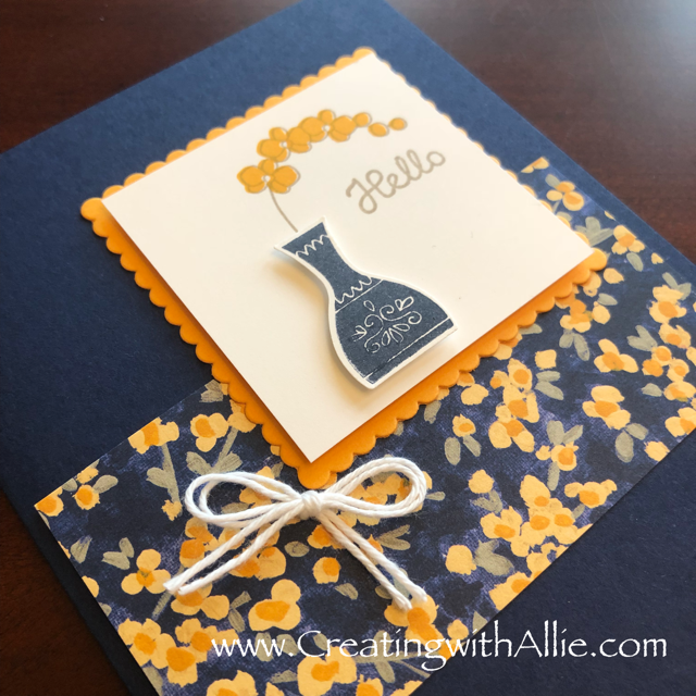 Check out the video tutorial showing you how to make a quick and easy card, where I show you tips and tricks for using Stampin Up's Varied Vases Bundle!  You'll love how quick and easy this is to make!  www.creatingwithallie.com #stampinup #alejandragomez #creatingwithallie #videotutorial #cardmaking #papercrafts #handmadegreetingcards #fun #creativity #makeacard #sendacard #stampingisfun #sharewhatyoulove #handmadecards #friendshipcards