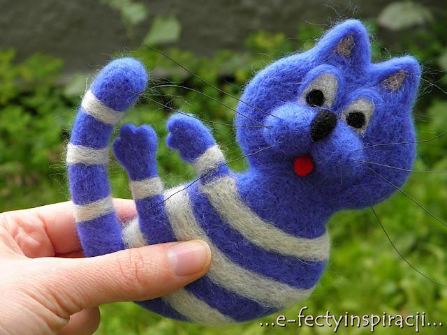e-fectyinspiracji, hand made, broszka, rękodzielnictwo, filcowanie na sucho, włóczka czesankowa, bajkowy bohater, (S)tworki, pomysł na prezent, Kot Maurycy, filcowany kot, broszka, broszka ręcznie robiona