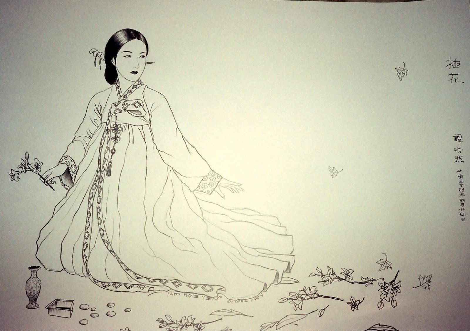 Korean women pencil drawings 2004
