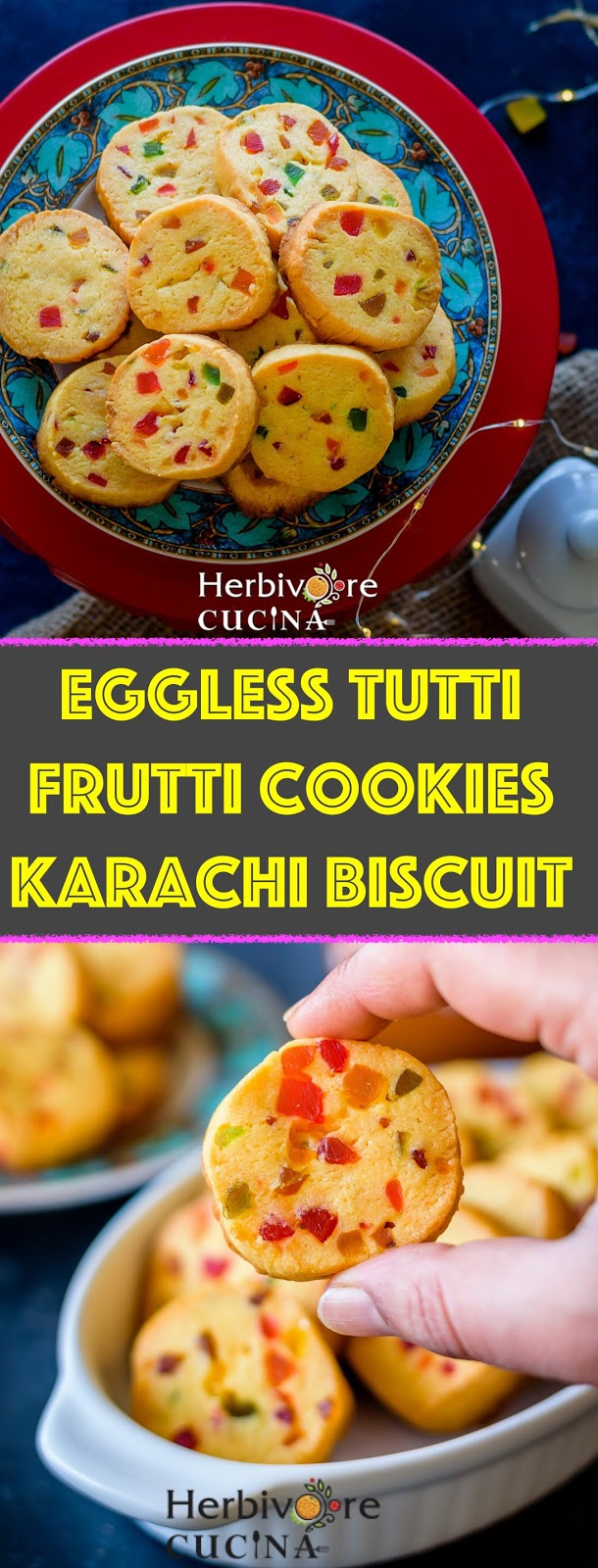 Eggless Tutti Frutti Cookies | Karachi Biscuits