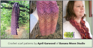 Crochet Scarf Patterns with texture, beads, and ruffles by April Garwood of Banana Moon Studio.
