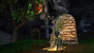 caveira esqueleto se erguendo do tumulo a noite