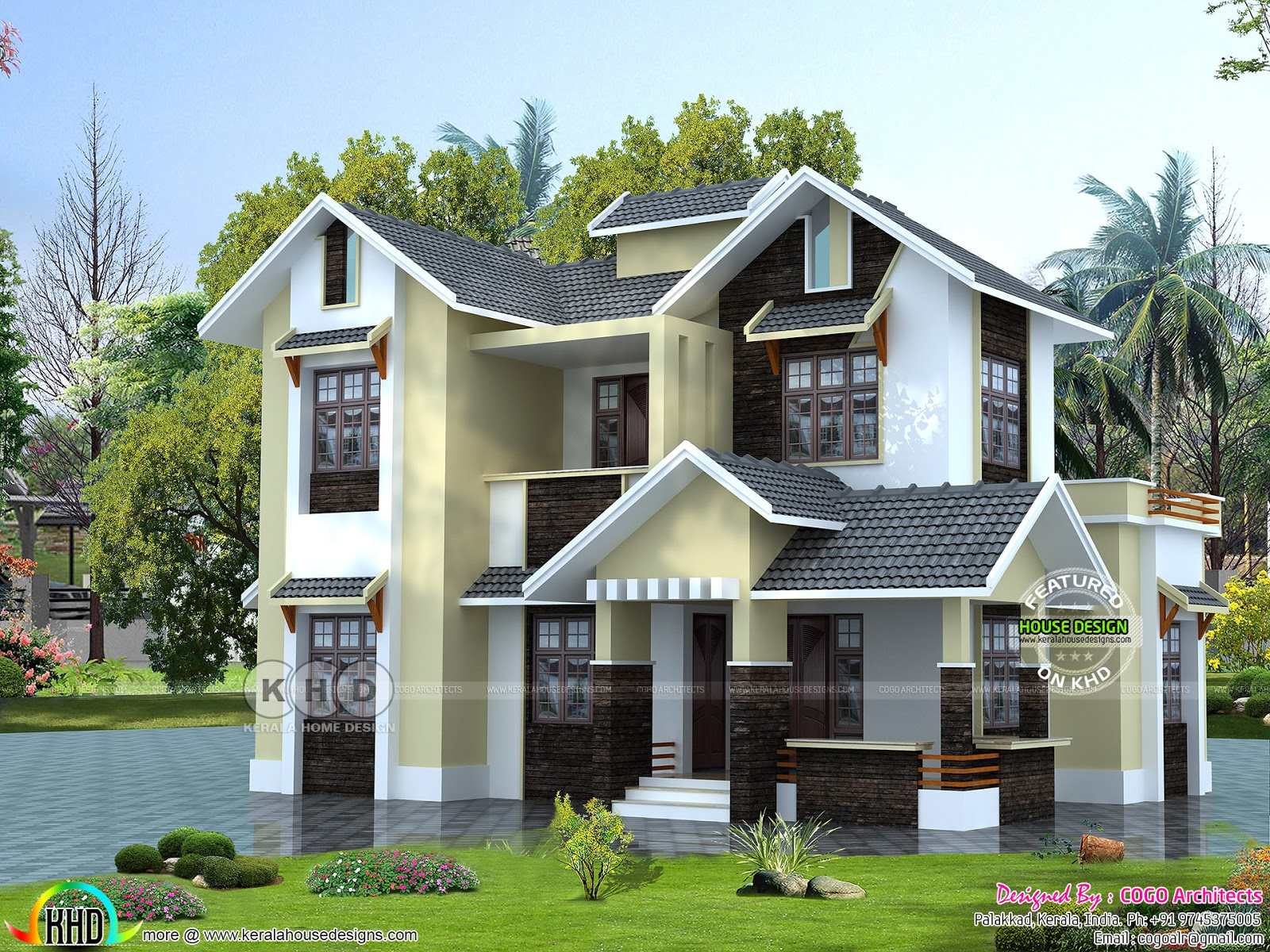 1650 sq ft 4 bedroom sloping roof kerala home design for Kerala home roof designs
