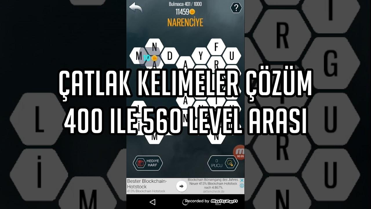 Çatlak Kelimeler 400 ile 560 Level Arası Çözümü
