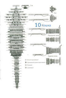 Животные из бисера объемные кошечка схема