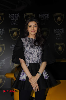 Actress Kajal Aggarwal Stills in Black Dress at Lakme Fashion Week Summer Resort 2017  0002.jpg