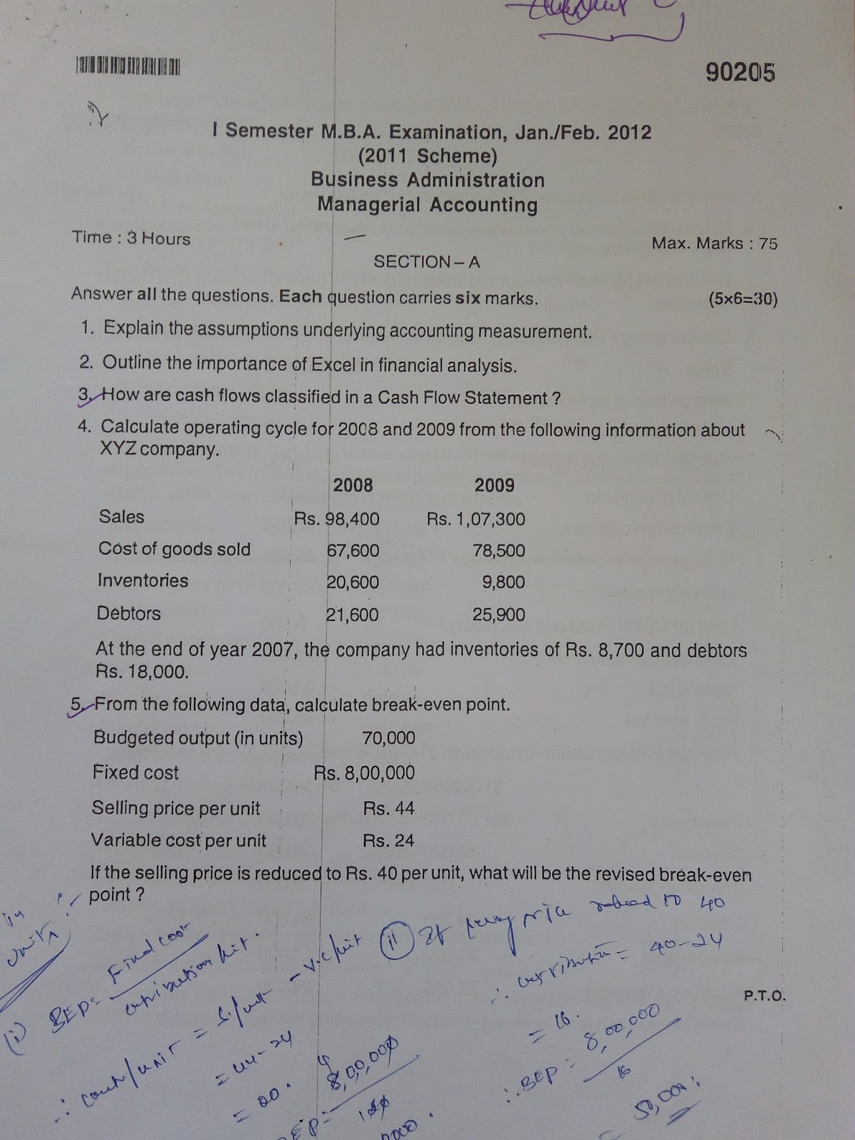 I SEM MANAGERIAL ACCOUNTING QUESTION PAPERS