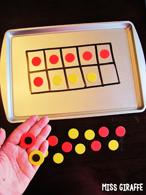 Stick magnets to the back of red yellow counters for a ton of 10 frame practice to work on number sense, adding, subtracting, etc.