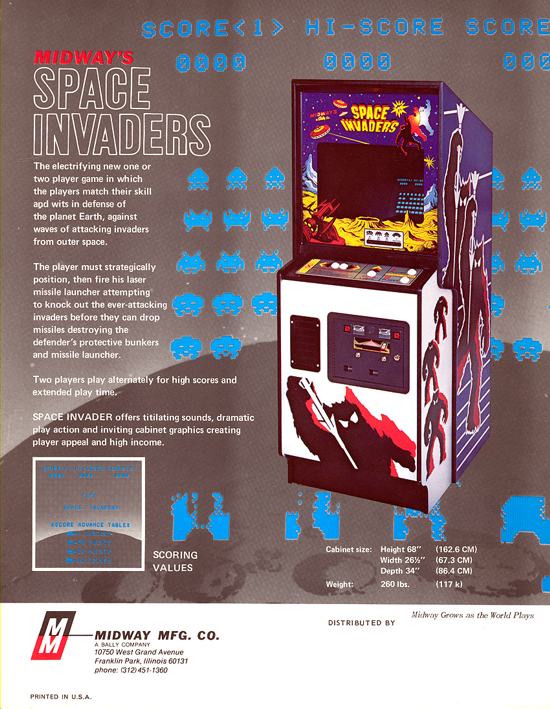 Space Invaders upright cabinet advertising