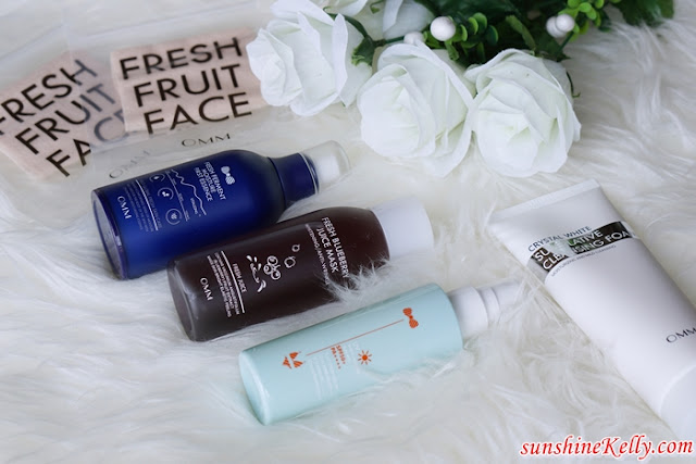 OMM Malaysia, OMM Cosmetics, Lactobacillus skincare, Fresh Ferment Moisture First Essence, Fresh Blueberry Juice Mask, UV Shield Moisture Sun Mist SPF50+/PA++++, Crystal White Superlative Cleansing Foam