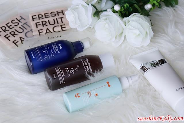 OMM Malaysia, OMM Cosmetics, Lactobacillus skincare, Fresh Ferment Moisture First Essence, Fresh Blueberry Juice Mask, UV Shield Moisture Sun Mist SPF50+/PA++++, Crystal White Superlative Cleansing Foam