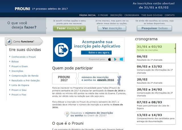 Inscrições para 214 mil bolsas do Prouni estão abertas
