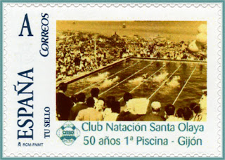 Sello personalizado del 50 aniversario de la primera piscina del Club Santa Olaya en La Calzada, Gijón