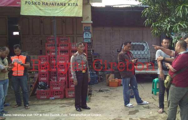 polisi olah tkp perampokan di toko dasinih desa kertacila indramayu