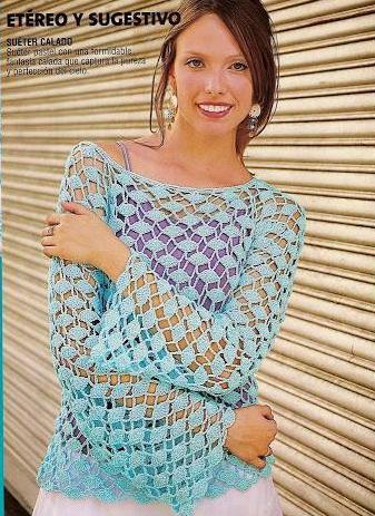 Patrón #786: Blusa Calada a Crochet