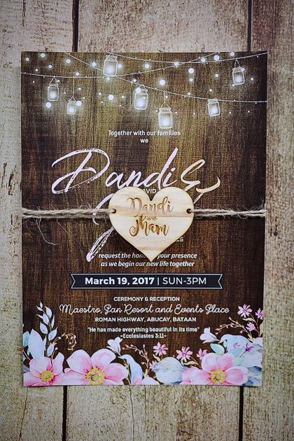 Rustic Wood Wedding Invitation Stunro Creativeworks Labels Hanging Lights Kraft Paper Laser Print