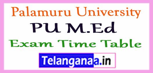 Palamuru University PU M.Ed Exam Time Table