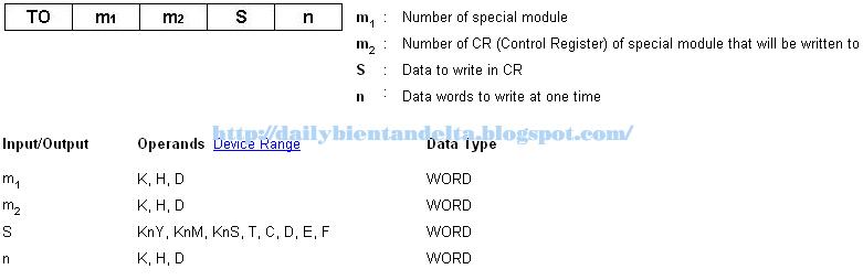 Lệnh TO trong PLC Delta, lệnh truyền dữ liệu xuống từ PLC xuống Module