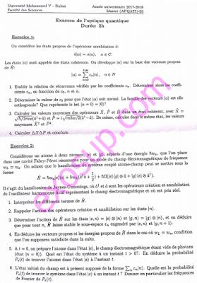 examen optique quantique master apq s3 fsr 2017-2018