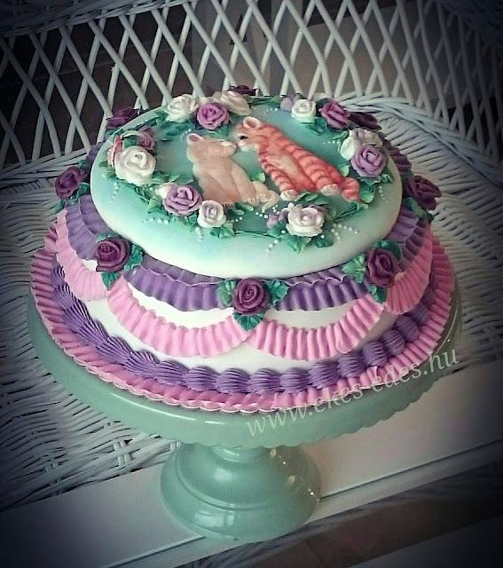 kislány glazúrozott cicás torta