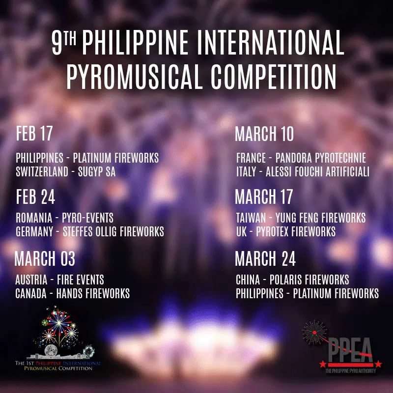 9th Philippine International Pyromusical Competition 2018 Schedule