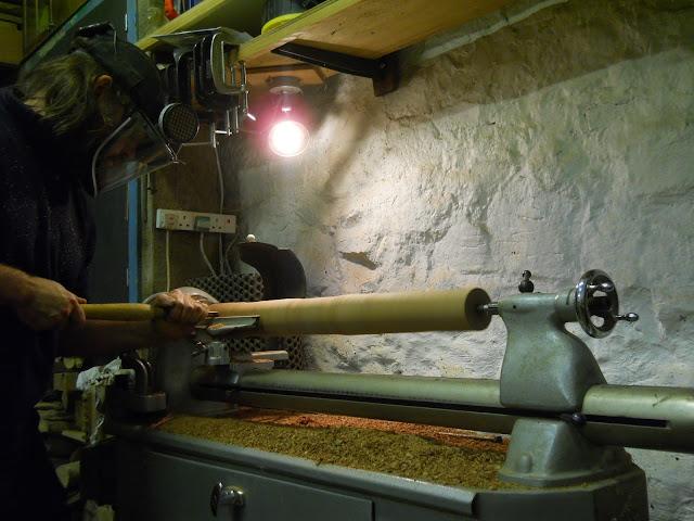 wood turning on a Myford Lathe