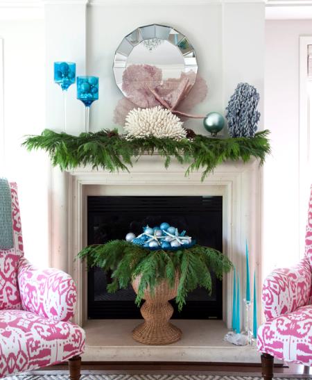 Christmas ball ornaments mantel