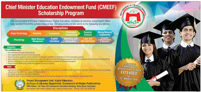 Chief Minister Educational Endowment Fund Scholarships KPK
