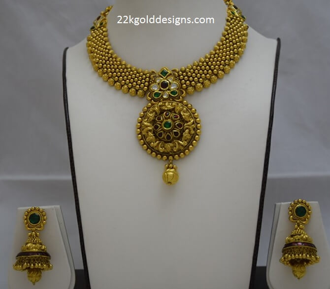 Antique Gold Necklace with Jhumkas