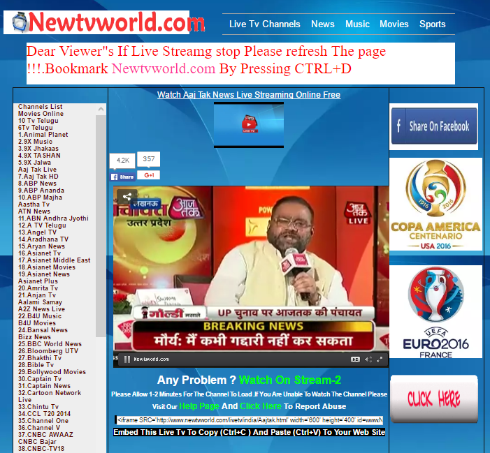 How to watch live tv online free-4 Best Websites of TV Channels ...