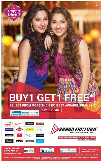 Buy one - Get one free at Brandfactory | October 2016 Dassehra/Diwali festival discount offers