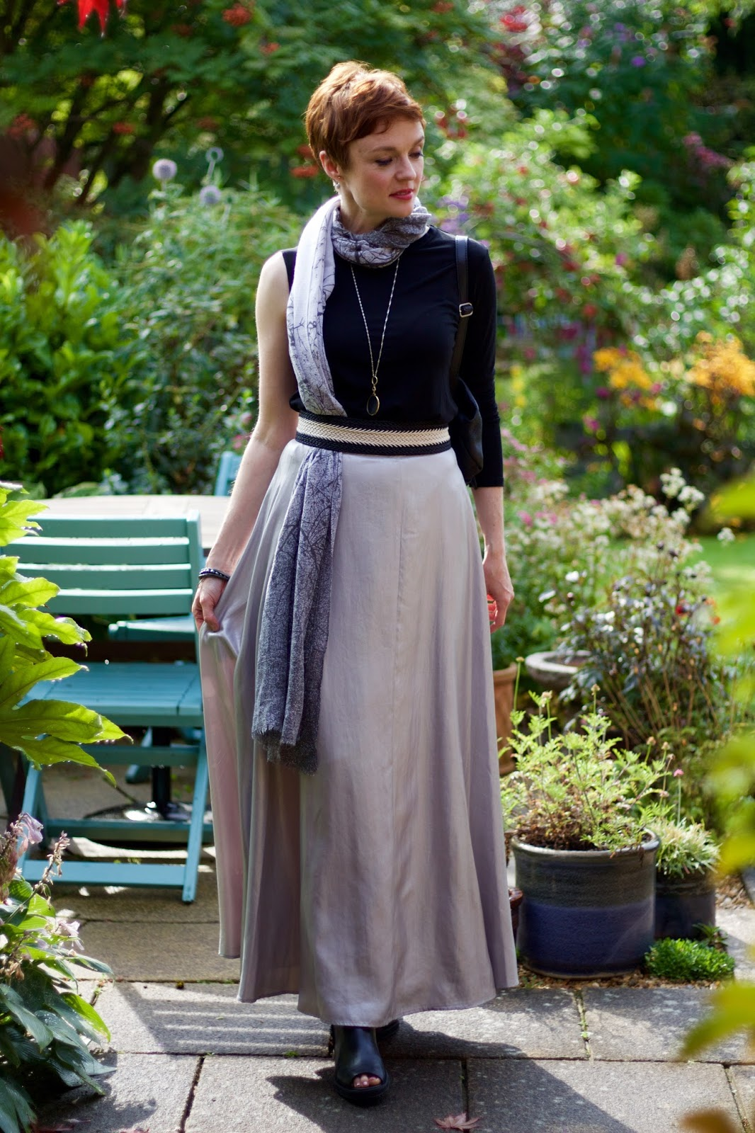 Silver Maxi Skirt & Black one Sleeve Tee, over 40 | Fake Fabulous