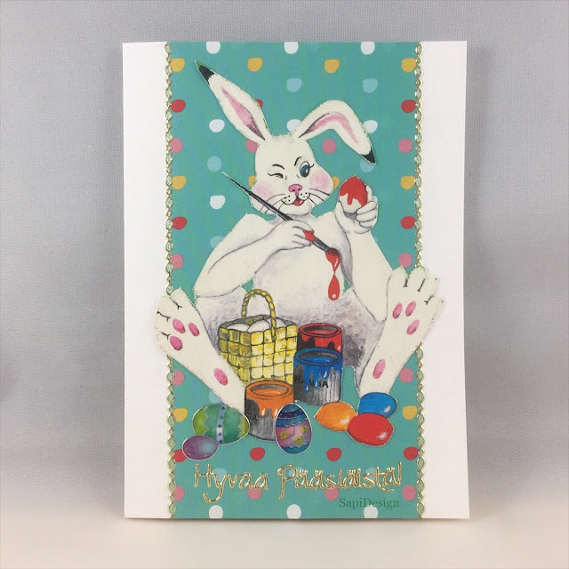 first Easter card for this year handmade bunny easter eggs colours SapiDesign