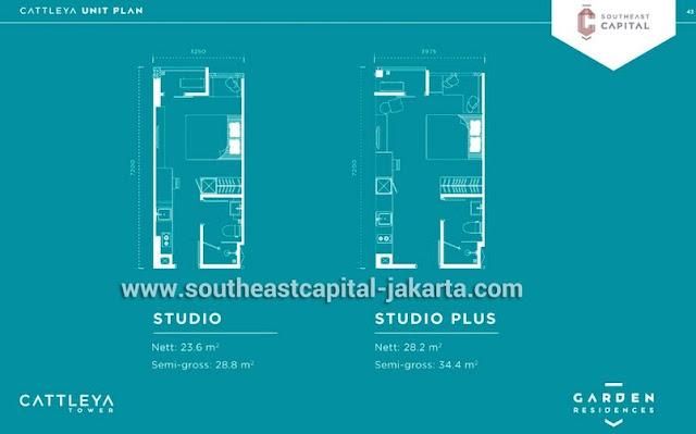 Tipe Studio dan Studio Plus Apartment Southeast Capital Jakarta