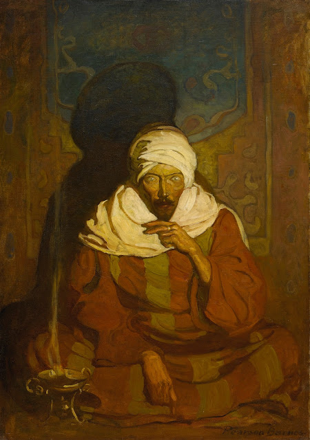 "N.C. Wyeth cover painting titled ""A Hindu Mystic (Seated Arab) (sic)"" from Sotheby's catalog"
