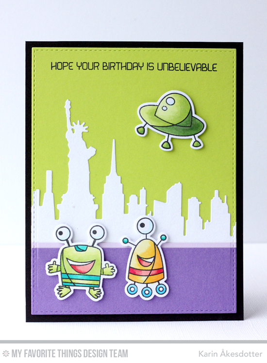 Unbelievable Birthday Card Karin Åkesdotter featuring the Out of This World stamp set and Die-namics, and the New York Skyline and Blueprints 25 Die-namics #mftstamps