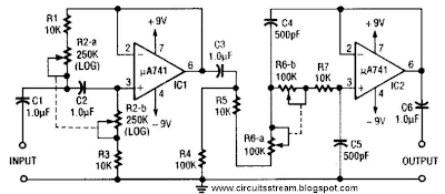 Variable Bandpass Audio Filter Circuit Diagram