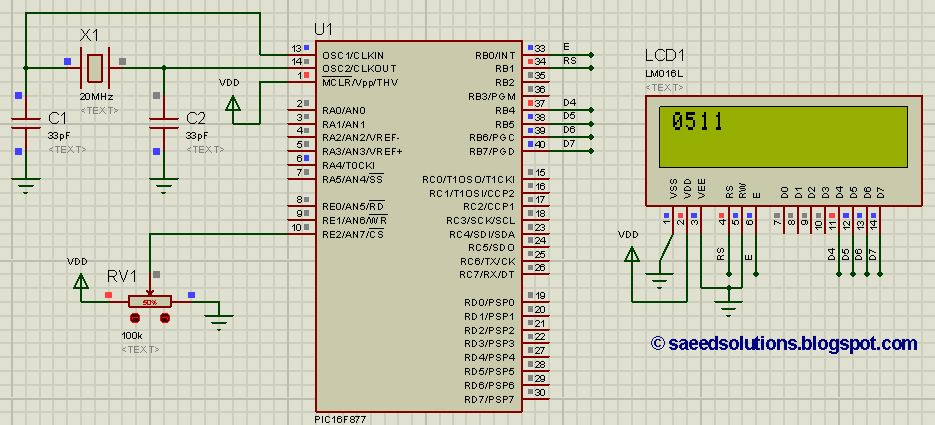 PIC16F877 ADC code + Proteus simulation - ElectronicBeans