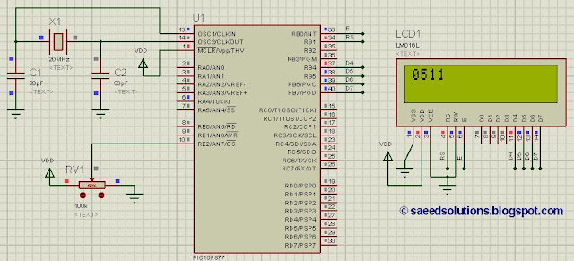 PIC16F877 stop watch code + Proteus simulation - ElectronicBeans