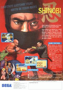 Flyer de Shinobi, Arcade 1987, Sega