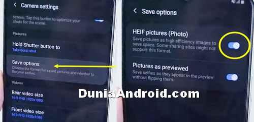 Setting foto format HEIF di HP Samsung