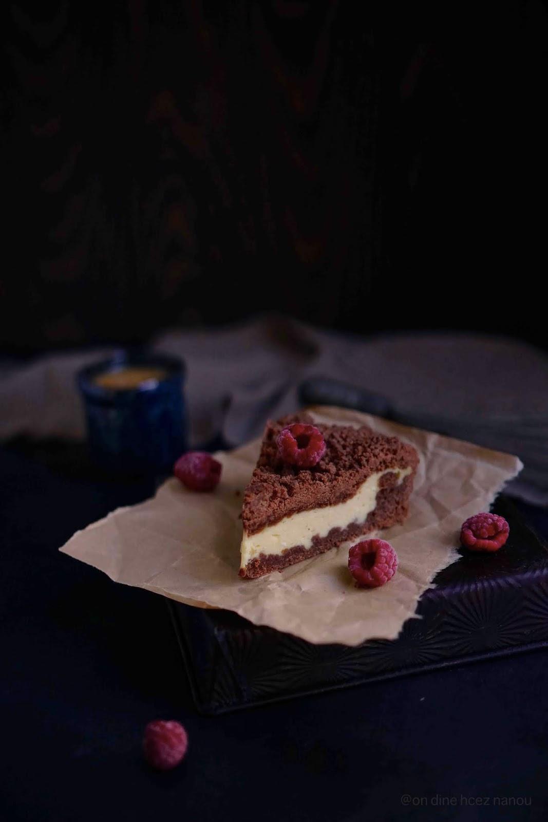 crumble de cacao , gâteau de fromage blanc , cuisine russe