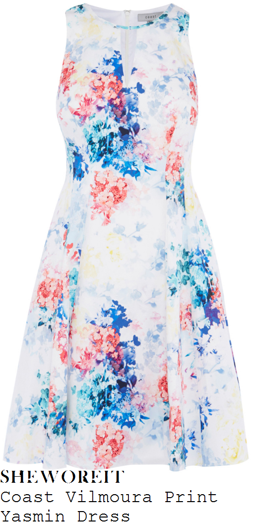 lisa-snowdon-coast-yasmin-white-blue-pink-and-yellow-watercolour-floral-blossom-print-sleeveless-cut-out-keyhole-detail-fit-and-flare-skater-dress