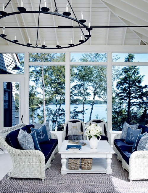 Nautical Sun Room Idea with White Wicker Furniture