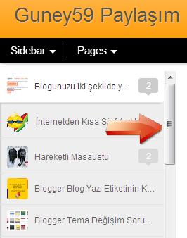 Dinamik Blog Sidebar Scrollbar
