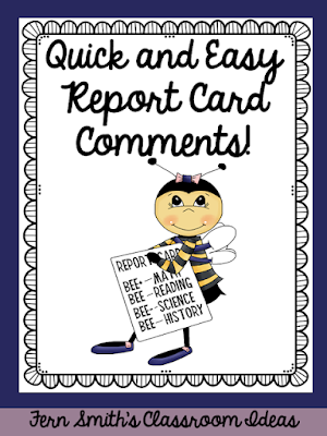 Need help with report card comments? Deadlines are crazy, but do you enjoy writing something sweet on each and every report card? Pin this post to have help with some quick and easy report card comments! #FernSmithsClassroomIdeas